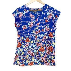 LABEL RACHEL RACHEL ROY Blue Floral Hi Lo Top L